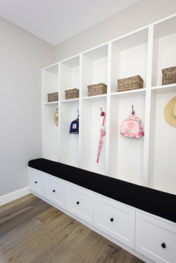 This families mudroom is a great way to store shoes, coats, back packs and other items you don't want carried through the house