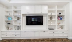 2 pac painted wall unit with adjustable shelves as designed by our client
