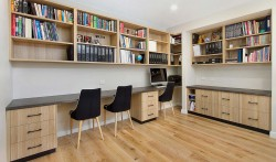 Study base and overhead joinery in Ravine woodgrain board with laminate tops.