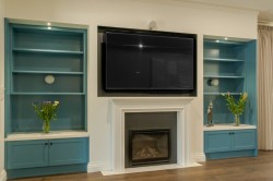 Park Orchards: TV unit with 2 Pac Painted open shelves and base cupboards. Stone tops.