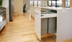 Blum pull out double rubbish bin, just one of the many innovative storage solutions.