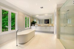Vanity with Shaker style doors and 20mm stone tops